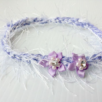 newborn photography prop-photo prop-white lavender halo headband with fabric flower beads for baby shower gift, spring easter headband