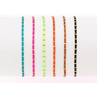 Neon Cord and Gold Stoppers Friendship Bracelets