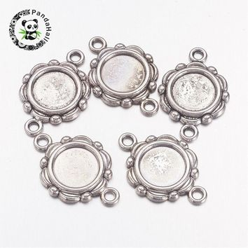 20pcs Tray 10mm Flat Round Antique Silver Alloy Tibetan Style Cabochon Connector Settings, Lead Free & Nickel Free,