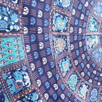 Square feather mandala bedspread wall hanging wall decor blue tapestry
