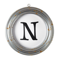 Wall Letter N in a Round Metal Frame