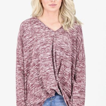 Heathered Twisted Front Lightweight Knit Sweater {Burgundy}
