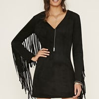 Faux Suede Fringe-Trim Dress