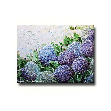 GICLEE PRINT Art Abstract Painting Hydrangea Flowers Impasto Lavender Purple Canvas Prints