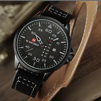 NAVIFORCE® Precision Leather Sport Watch