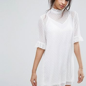 Missguided Dobby Frill High Neck Shift Dress at asos.com