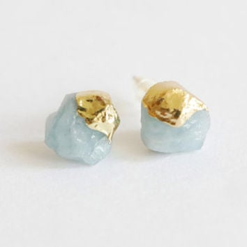 Amazonite earrings, Raw Crystal stud earrings, Dipped Gold raw crystal quartz stone gold earrings, gold post earrings, rough gemstone