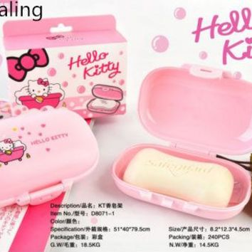 New Hello Kitty PP Leakage-proof Soap Holder / Case Travel yey-1052