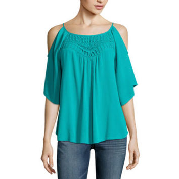 Love And Let Love Long Sleeve Scoop Neck Gauze Blouse-Juniors - JCPenney