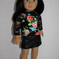18 inch doll clothes, black lace sleeve floral baseball tee, black leather look mini skirt, american girl ,maplelea