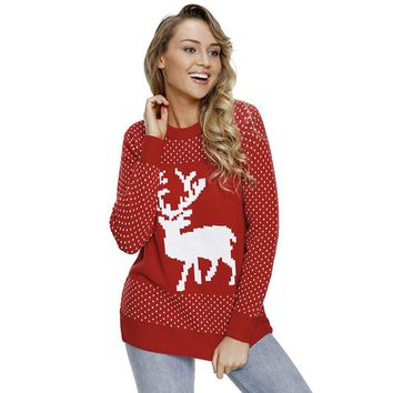 Polka Dot Ugly Christmas Sweater Knitted Deers Long Sleeve Red Winter Sweaters Fashion 2018 Women Clothing Knit Jumper