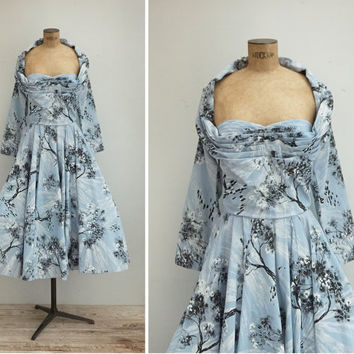 1950s Dress - Vintage 50s Light Blue Novelty Print Dress - Only In My Dreams Dress