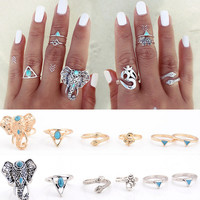 Bohemian Vintage Rings Knuckle Joint Finger 6PCS Ring Set