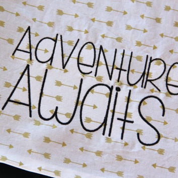 Adventure Awaits Gold Arrow Blanket, Tribal Blanket, Gold Arrow Blanket, Gold Baby Blanket, Minimalist Minky Blanket