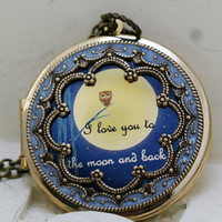 Locket,Owl Locket,Photo Locket, Wedding Necklace,I love you to the moon and back - Vintage Locket,bridesmaid gift locket necklacer