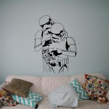 Star Wars Force Episode 1 2 3 4 5 Stormtrooper Baby Family Wall Decal  Vinyl Sticker Galactic Empire Soldier Home Interior Decor Custom Decals AT_72_6
