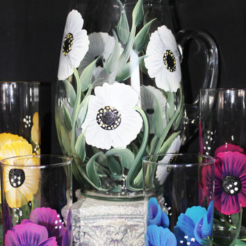 Hand Painted Ice Tea or Water Glasses -Hand Painted Rosebuds and Flower Design-Hand painted Stemware, Wedding Drink-ware, Cooler Glasses