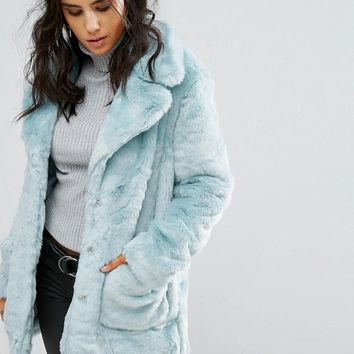Glamorous Coat In Faux Fur at asos.com