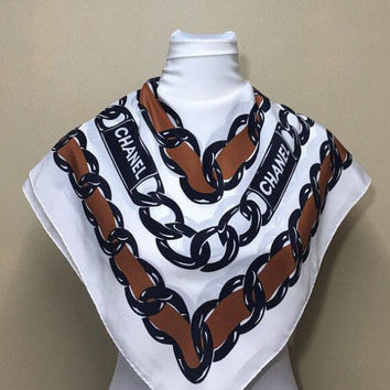 """Reserve for Megy pls dont buy Free postage Auth Chanel silk scarf handrolled (33""""x35"""") 562"""