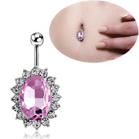 New Charming Dangle Crystal Navel Belly Ring Bling Barbell Button Ring Piercing Body Jewelry = 4661793348