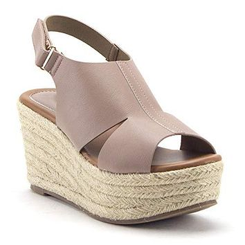 Women's Prema-02 Flatform Espadrilles Platform Sling Back Wedges Sandals Shoes
