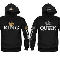 King Queen Hoodies Valentine New Muti Colors Matching Cute Lover Couple