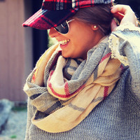 Birch Bark Plaid Scarf