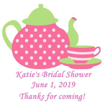 Pink Tea Bridal Shower Favor Tags