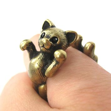 3D Kitty Cat Two Tailed Animal Wrap Around Ring in Brass - Sizes 5 to 9 Available