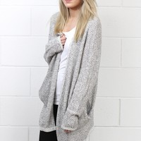Cozy Marled Knit Sweater Cardigan {Grey}