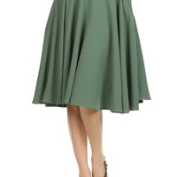 Sidecca Classic High Waist Swing Circle Midi A-line Skirt