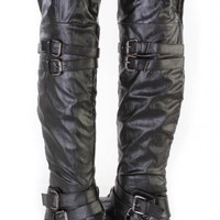 Black Buckle Accents Thigh High Flat Boots Faux Leather