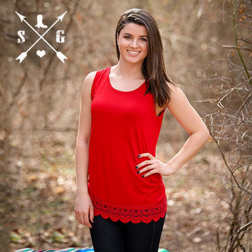 Solid Tank With Lace Trim in Red