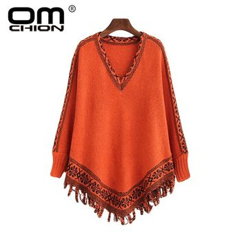 OMCHION Chaqueta Mujer Korean Batwing Sleeve Poncho Women O Neck Casual Tassel Knit Sweater Loose Retro Pullover LMM33