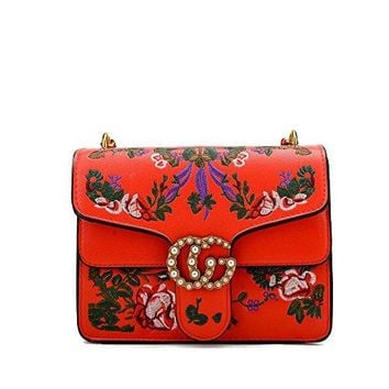 Embroidered flowers Crossbody Bags For Women's Handbags Ladies Square Shoulder Bags handbags wiht pearl