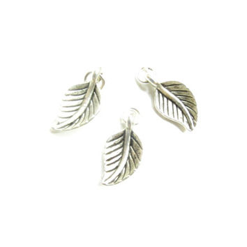 Add On Charm, Silver Leaf pendant, Pewter, Accessories, Add On,  antique Silver Charm, Bracelet Charm, Necklace Charm, Vintage Charm, Silver