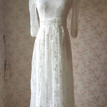 2016 Ivory Holiday Dress. Long Boho Dress. High Waist Boho Wedding Dress. Lace Prom Dress. Beach Dress. White Bridesmaid dress Wedding Dress