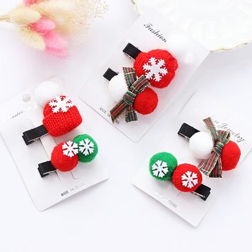 New Christmas Gift Girls Cute Hair Clips 1Pack Ball Hat Bow Hairpins Lovely Kids Hair Ornament Headband Hair Accessories Set