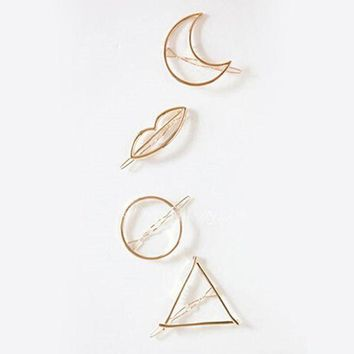 ac spbest Simple Elegant Metal Geometric Round Triangle Moon Hairpin Hair Clip For Women Jewelry  bijoux