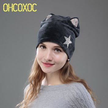 OHCOXOC New Design Women Beanies Skullies Princess Girl Cute Autumn Winter Hat Cap With Cat Ears Shiny Rhinestone Star Cap