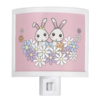 Cute Bunnies Night Lights for Girls Bedrooms: Gift Idea for Twin Girl Baby Shower or Newborns