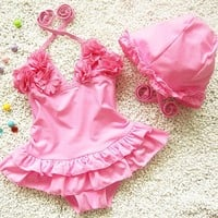 girls one piece swimwear 3colours children swimming suit infant swimsuit girls rash guard kids bathing suits with cap