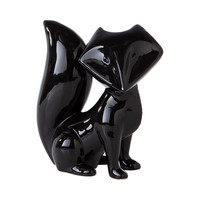 Sly Fox Sculpture in Glossy Black