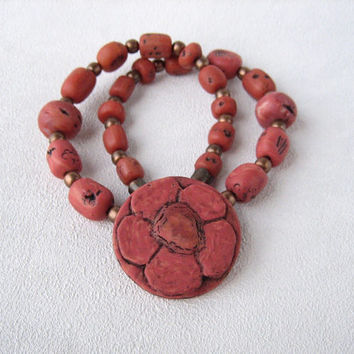 faux coral polymer clay jewelry flower coral necklace coral artisan handmade jewelry Statement necklace polymer coral jewerly gift for her