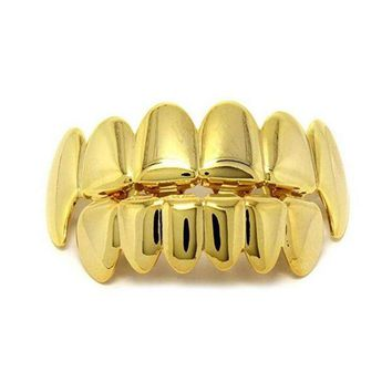 LMFIJ6 Hot Sale Gold Male Women Hip Hop Teeth Grillz Caps Top & Bottom Grills Set Iced Out CZ Silicone For Superstar Vampire Teeth