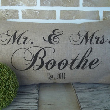 Wedding Anniversary Mr & Mrs. Burlap Name Burlap Pillow - Insert Included