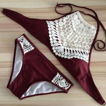 Fashion Crochet Solid Color Halter Beach Bikini Set Swimsuit Swimwear