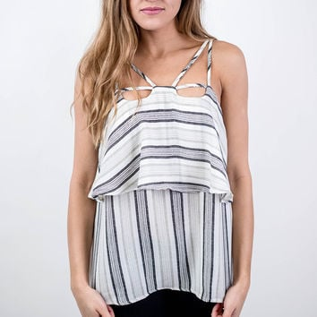 Strappy Black and Grey Striped Tank