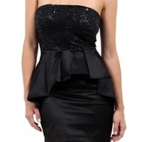 Black Sequin Peplum Dress - Diva Hot Couture