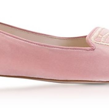 Sophia Webster Antique Rose & Rose Gold Bibi Butterfly Velvet Flat Ballerinas